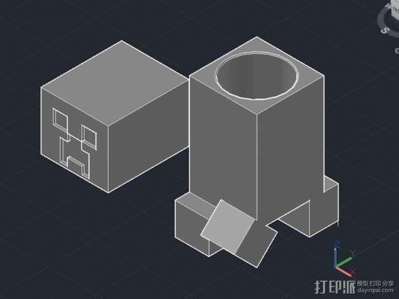 我的世界 爬行者 罐子  3D打印模型渲染图