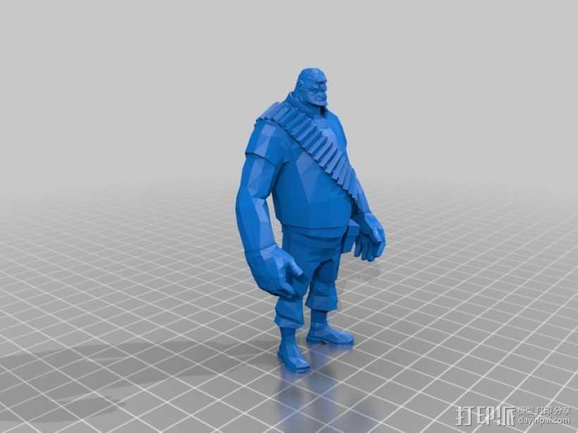边防要塞  Heavy胖子 人物模型 3D打印模型渲染图