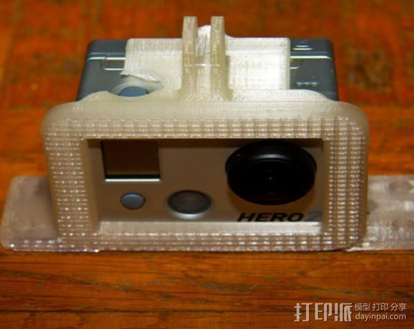 GoPro Hero 2 相机保护框 相机支架 3D打印模型渲染图