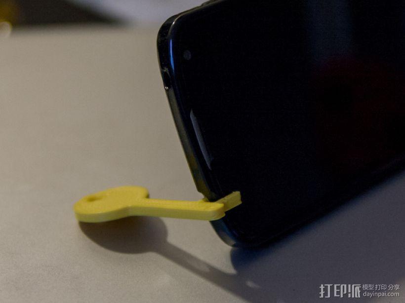 钥匙形状 手机支架 3D打印模型渲染图