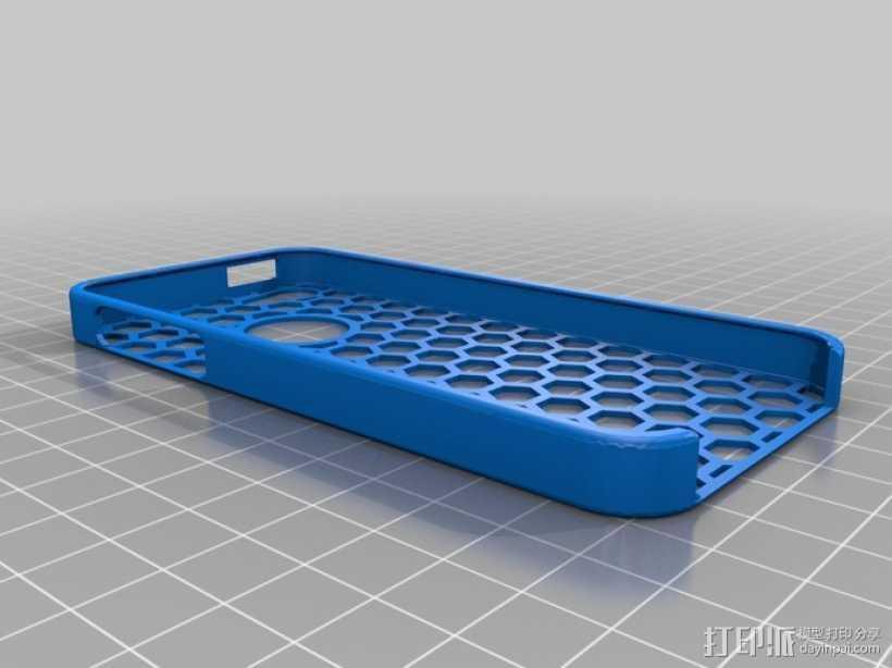 蜂巢图案iPhone5手机套 3D打印模型渲染图