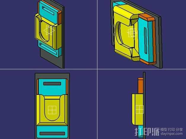 单反相机支撑器 3D打印模型渲染图