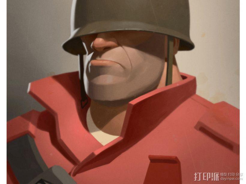 士兵头像 3D打印模型渲染图
