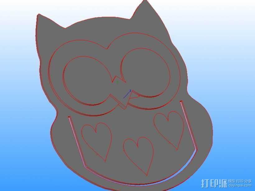 猫头鹰摆件 3D打印模型渲染图