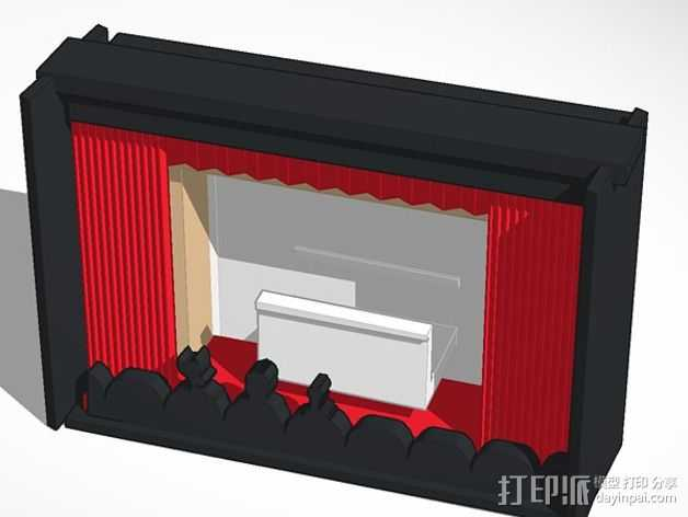 神秘剧场手机座 3D打印模型渲染图