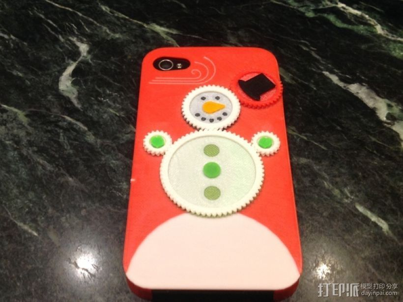 iPhone4S圣诞雪人手机壳 3D打印模型渲染图