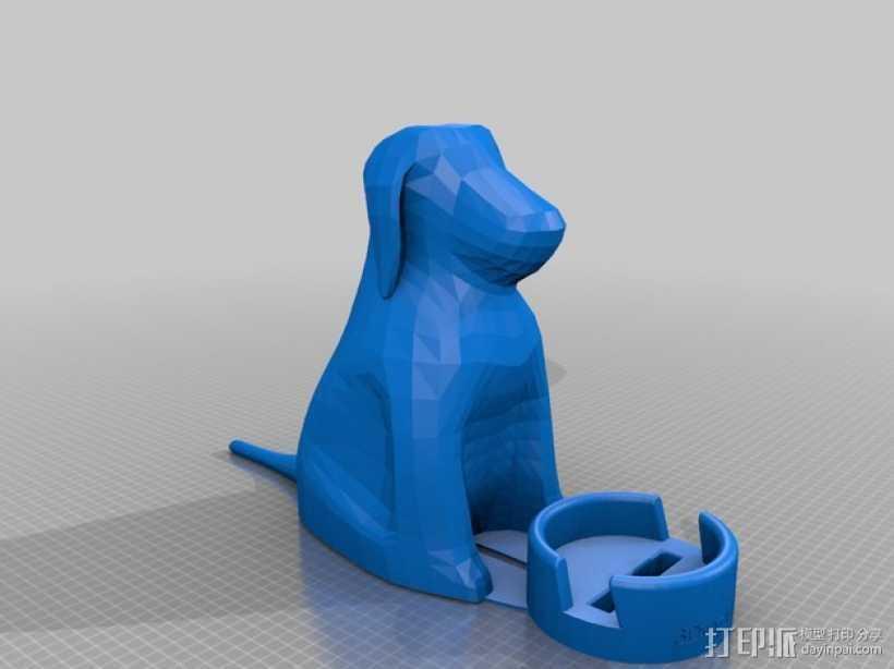小狗手机座 3D打印模型渲染图