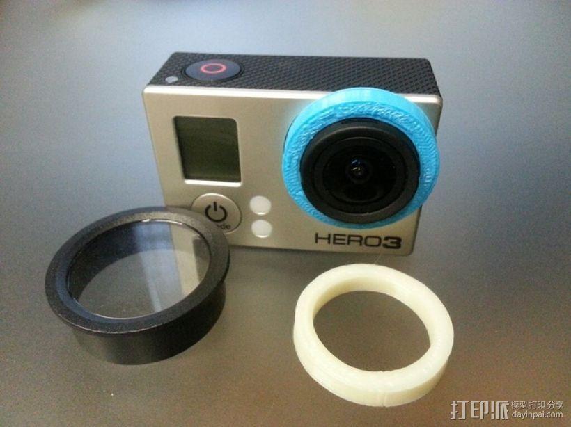Gopro 3镜头盖 3D打印模型渲染图
