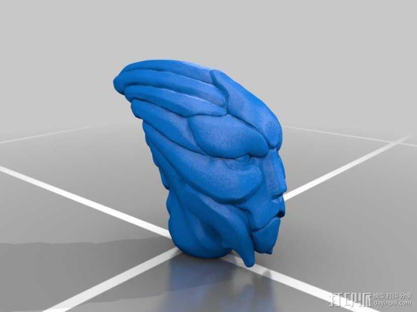 Mass Effect Turian摆件 3D打印模型渲染图
