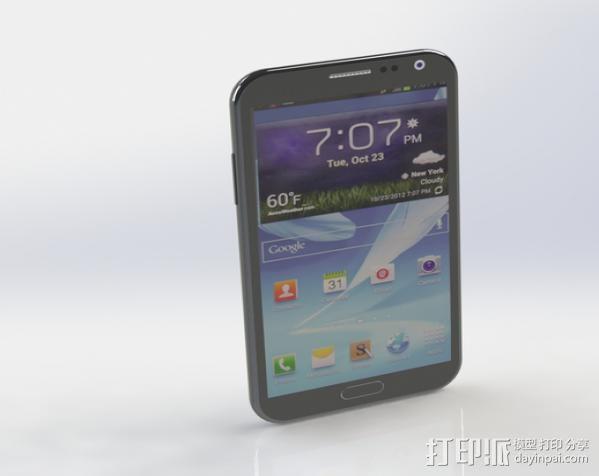 Samsung Galaxy Note II 3D打印模型渲染图