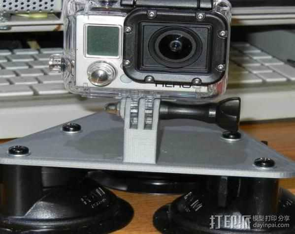 GoPro Camera 3吸盘支架 3D打印模型渲染图
