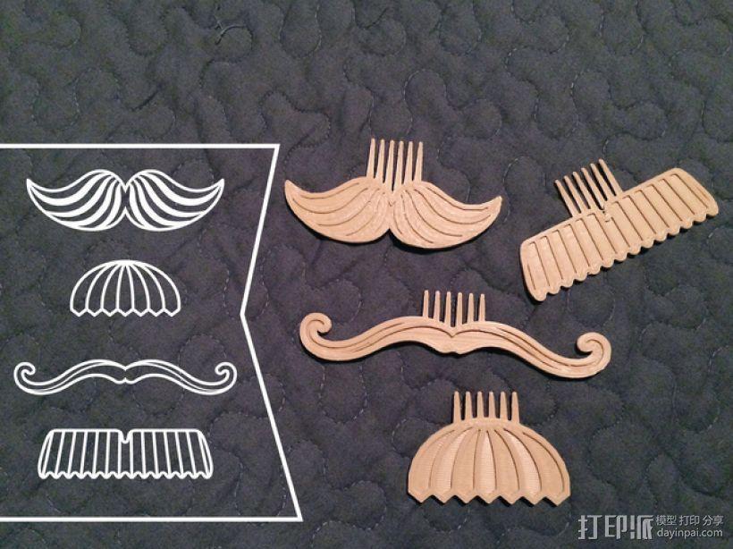大胡子梳子 3D打印模型渲染图