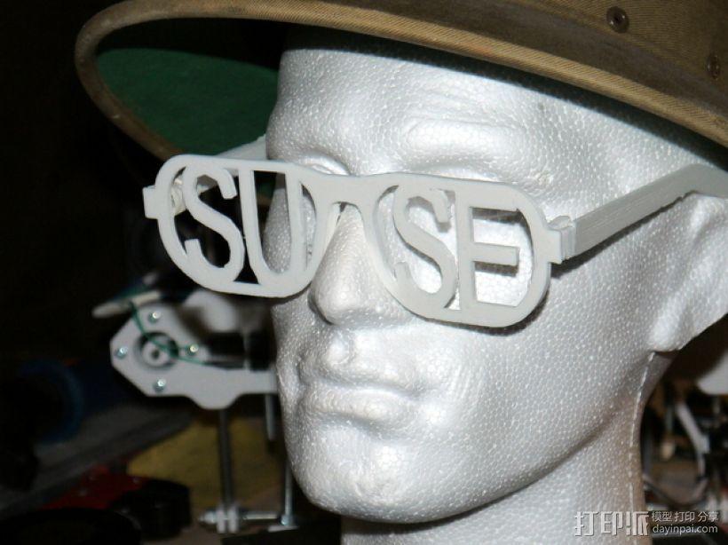 字母眼镜 3D打印模型渲染图