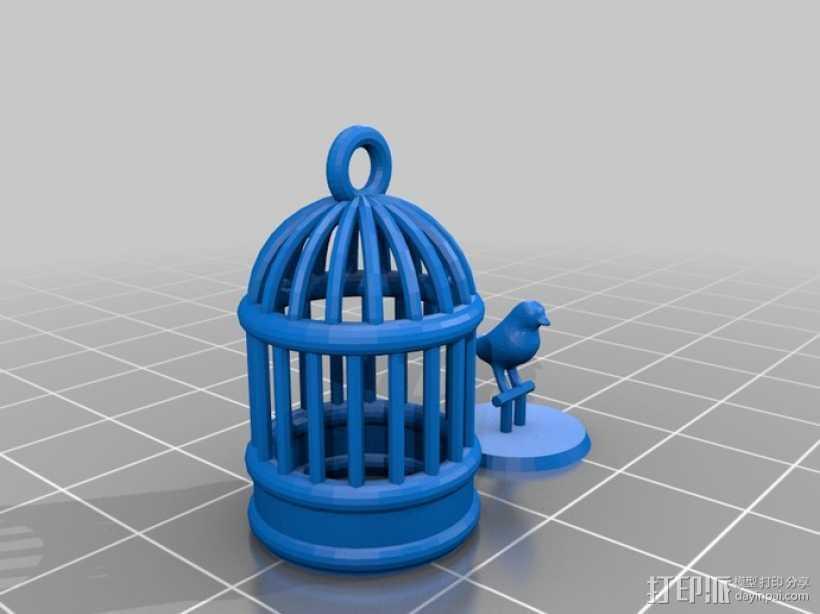 笼中鸟 吊坠 3D打印模型渲染图
