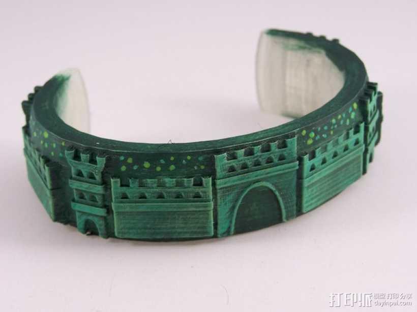 城堡图案手镯 3D打印模型渲染图
