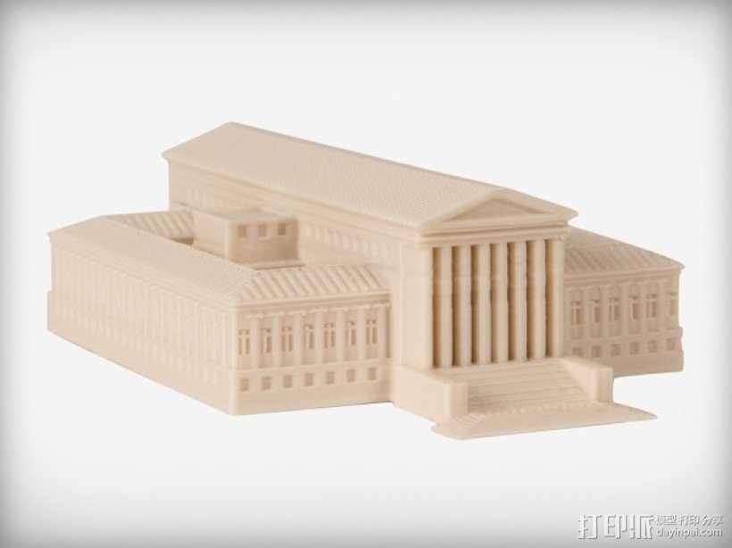 美国最高法院大厦 3D打印模型渲染图