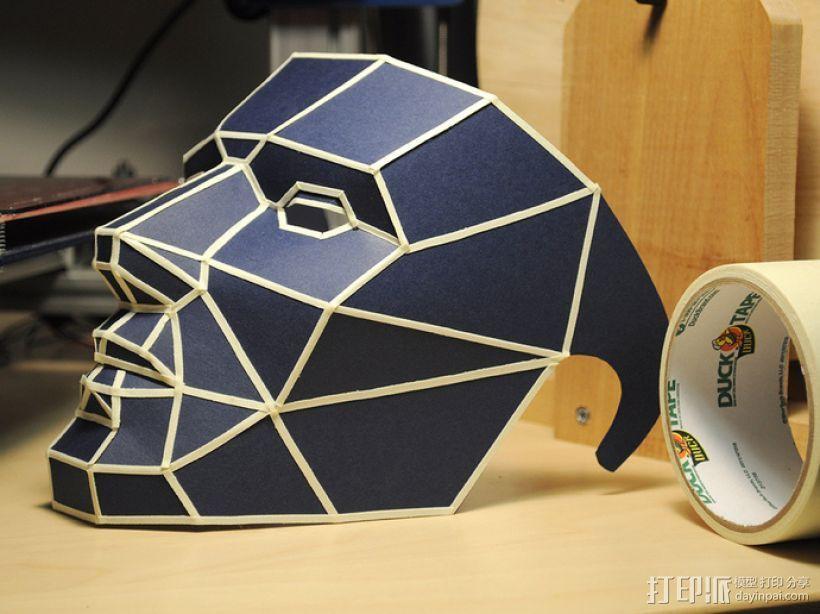 低面数多边形面罩 3D打印模型渲染图
