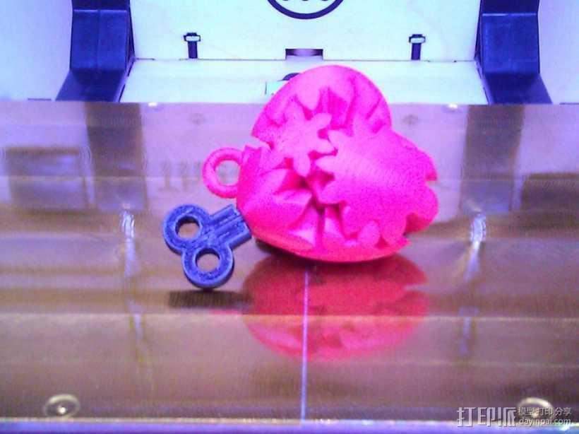 心形钥匙圈 3D打印模型渲染图