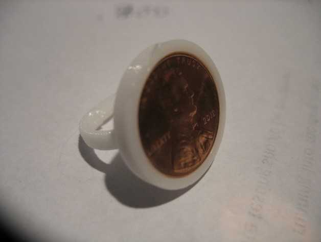 迷你硬币戒指 3D打印模型渲染图