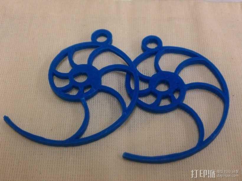 鹦鹉螺形耳环 3D打印模型渲染图
