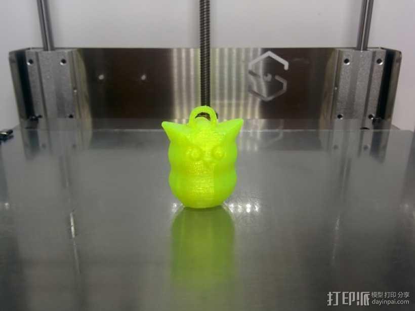 猫头鹰钥匙扣 3D打印模型渲染图