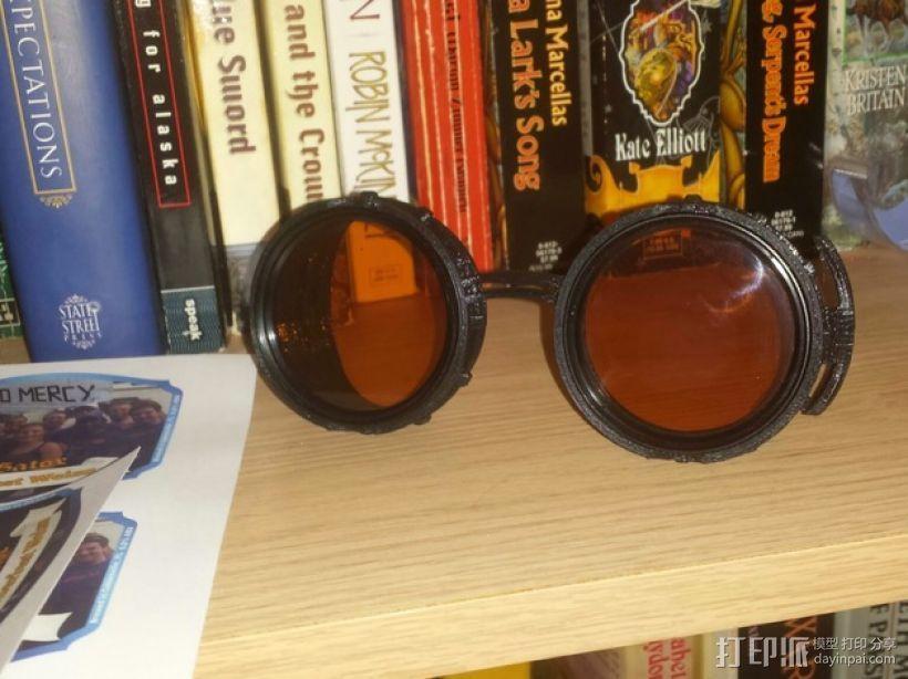 朋克风齿轮护目镜 3D打印模型渲染图