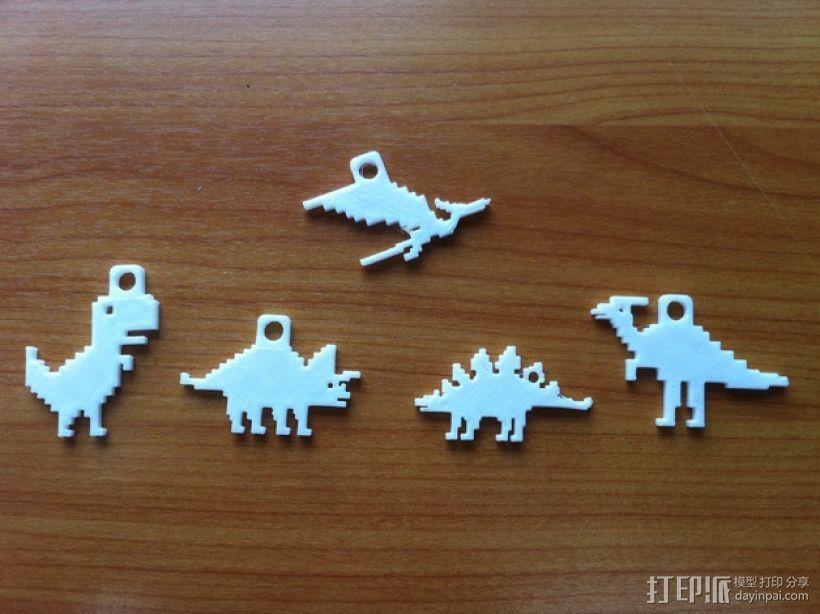 恐龙钥匙扣 3D打印模型渲染图