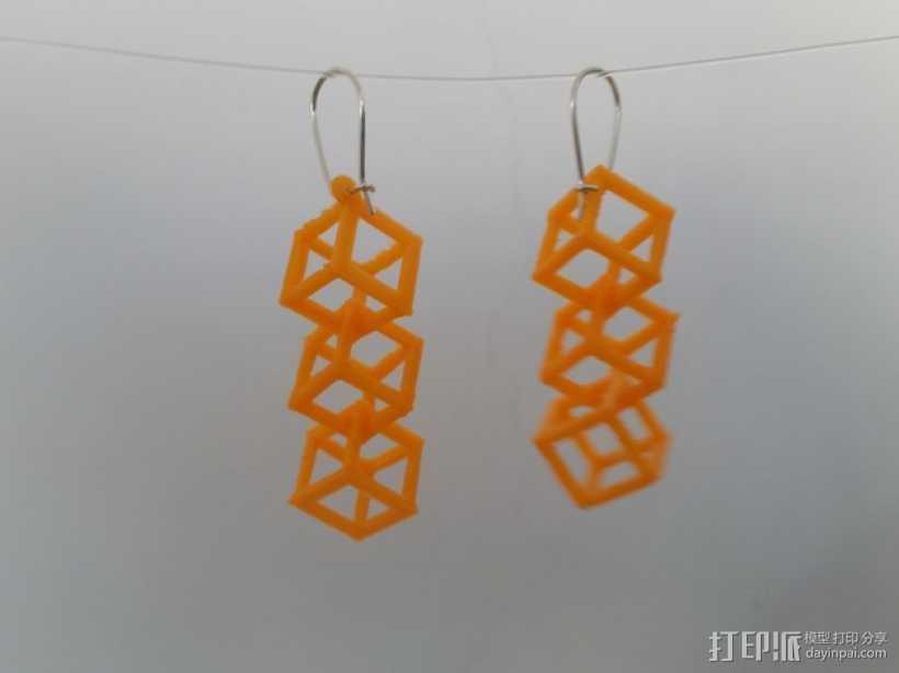 方形镂空耳环 3D打印模型渲染图