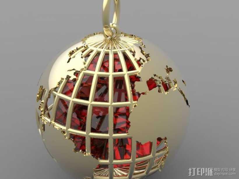 地球吊坠 3D打印模型渲染图