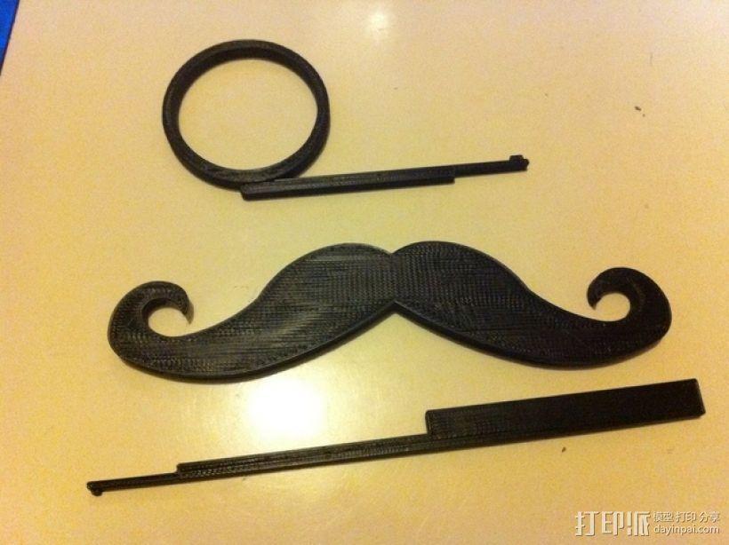小胡子/单片眼镜 3D打印模型渲染图
