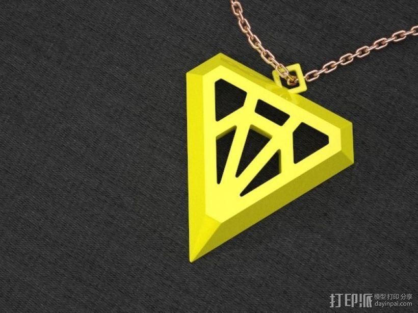钻石形吊坠 3D打印模型渲染图