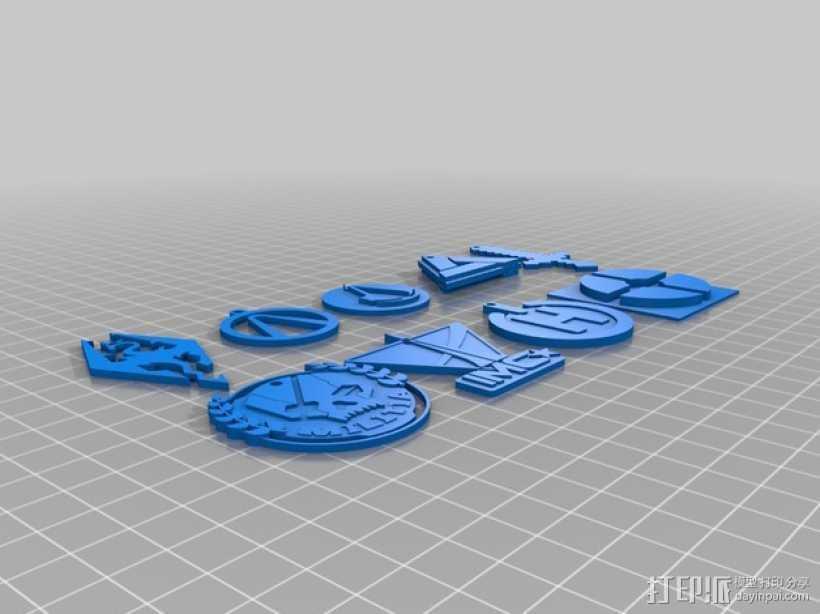 电子游戏LOGO钥匙扣 3D打印模型渲染图