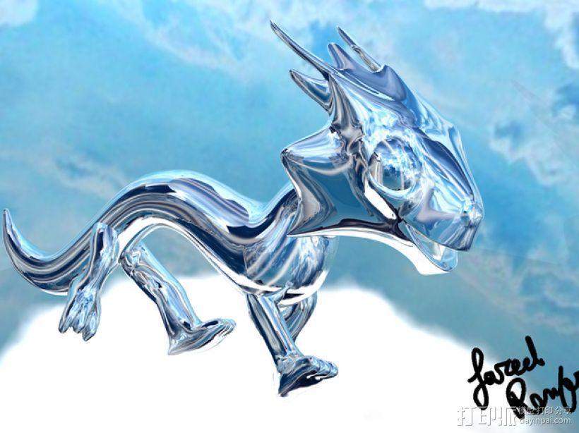 天空龙 钥匙扣 3D打印模型渲染图