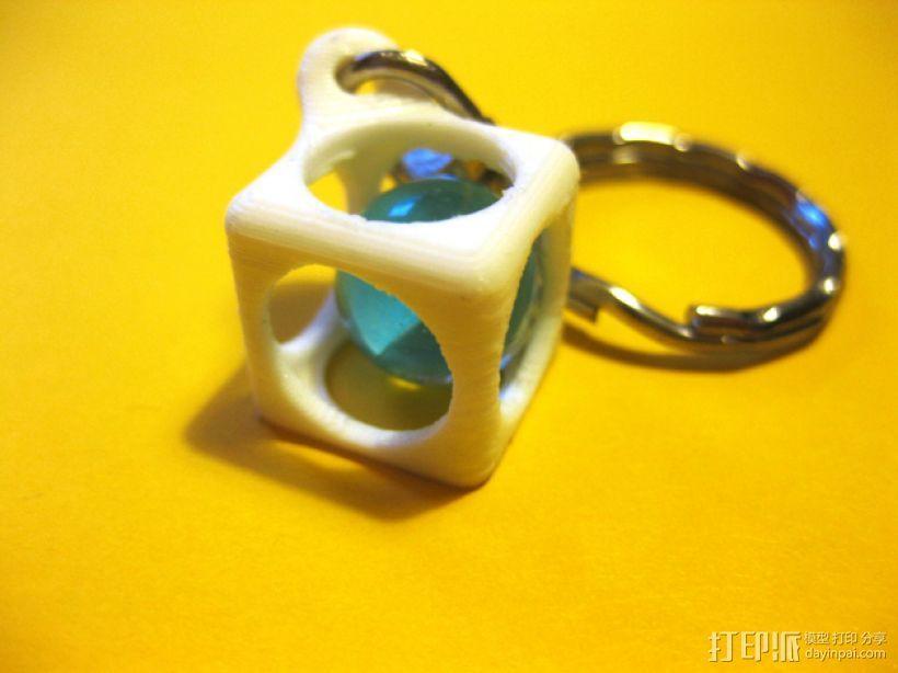 方盒玻璃球 钥匙扣 3D打印模型渲染图