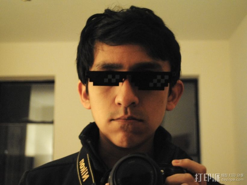 Deal With It像素眼镜 3D打印模型渲染图