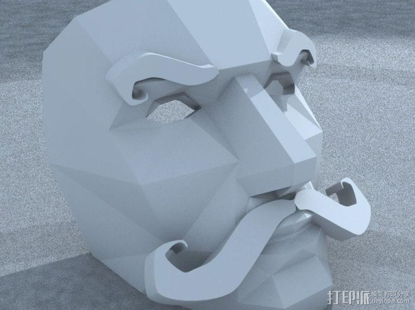 八字须 面具 3D打印模型渲染图