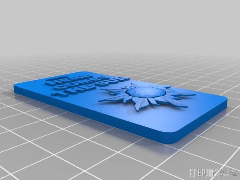 太阳图案 手机套 3D打印模型渲染图