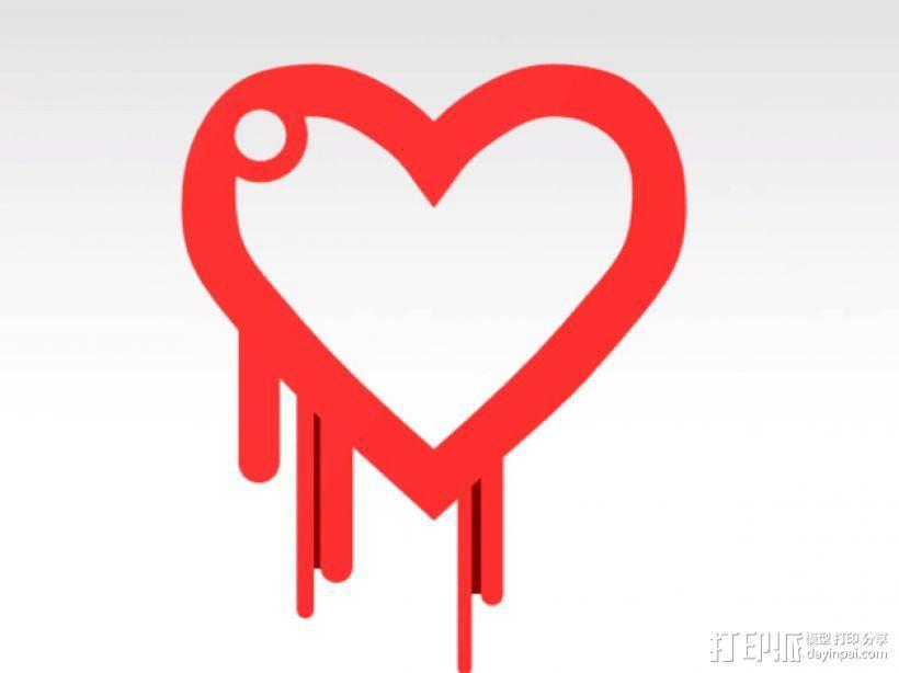 淌血的心脏 钥匙扣 3D打印模型渲染图