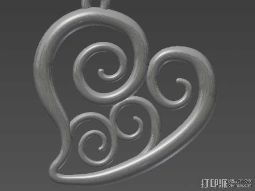 螺旋心形吊坠 3D打印模型渲染图
