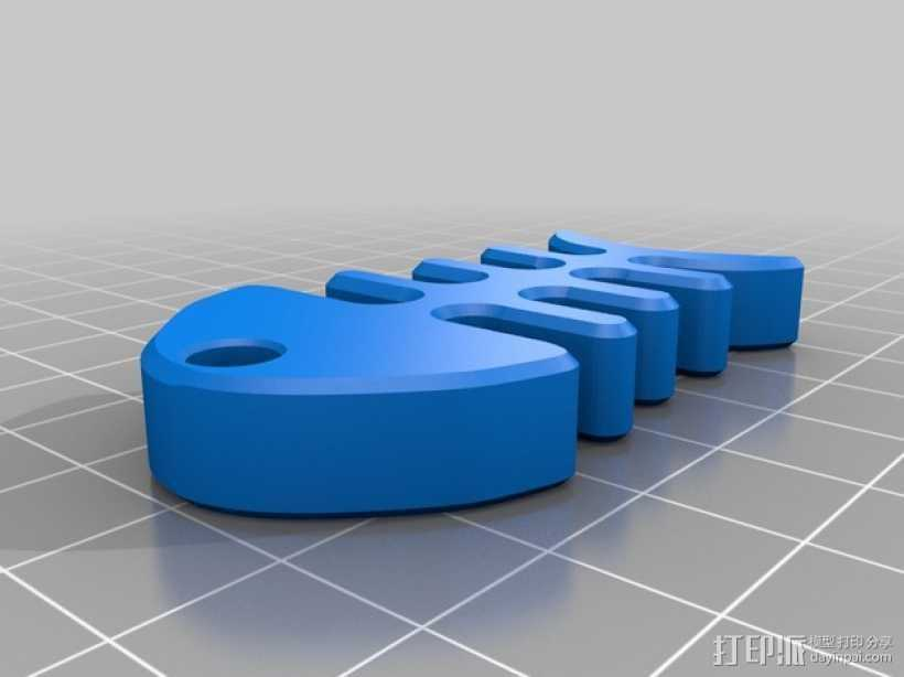 鱼骨头 钥匙坠 3D打印模型渲染图