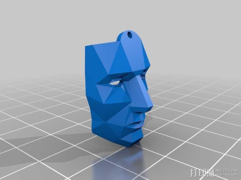 低面数面具 吊坠 3D打印模型渲染图