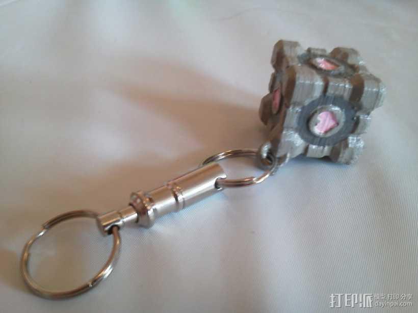 立方体 钥匙扣吊坠 3D打印模型渲染图