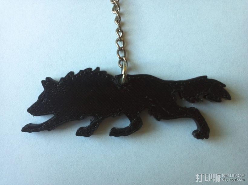 狼 钥匙链 3D打印模型渲染图