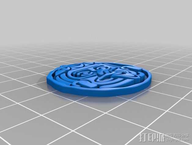 aztec人脸面具 3D打印模型渲染图
