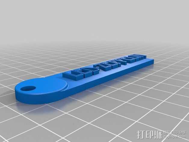 Led-Zeppelin字样钥匙链 3D打印模型渲染图