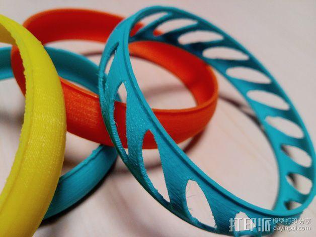 椭圆形手镯 3D打印模型渲染图