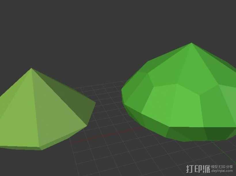 多面钻石 3D打印模型渲染图