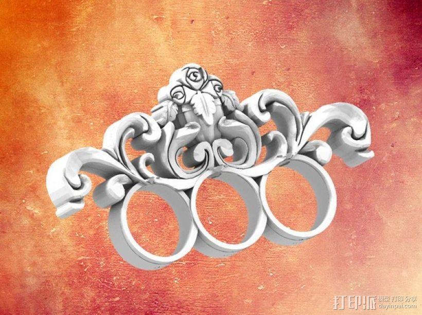 巴洛克风格手指套环 3D打印模型渲染图