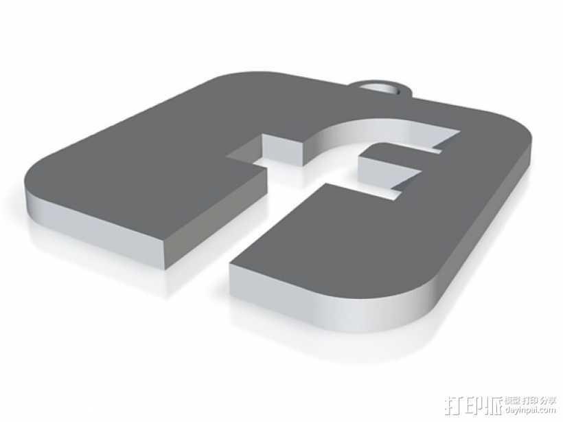 Facebook 徽标钥匙坠 3D打印模型渲染图