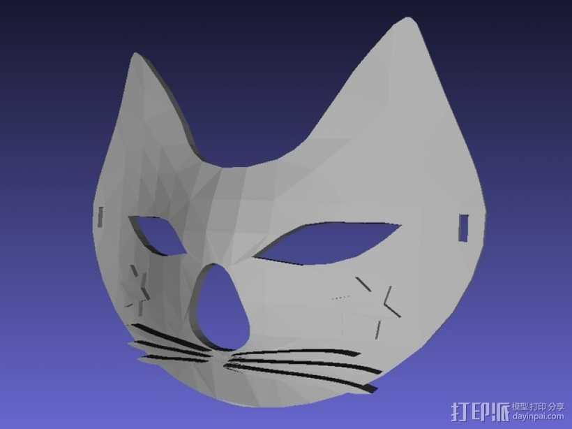 猫咪 舞会面具 3D打印模型渲染图
